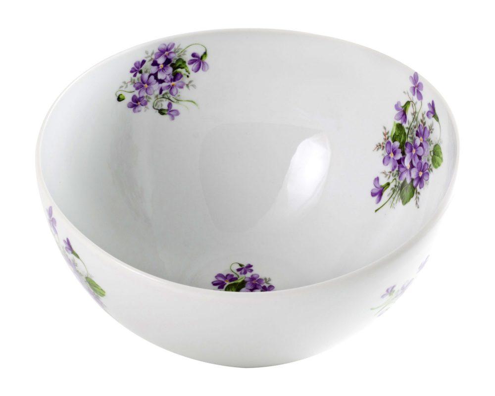 ensaladera porcelana violetas