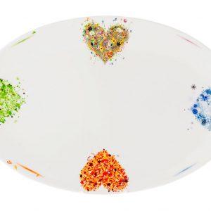 fuente porcelana 36 cm corazones año