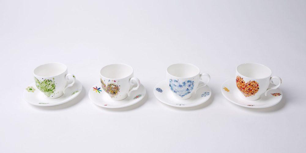 set 4 tazas cafe corazones año