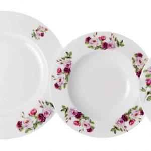 vajilla clasica 12 platos rosa garden