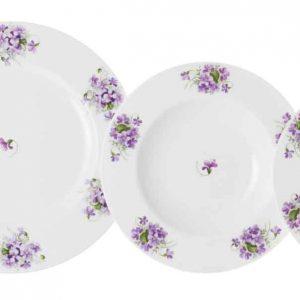 vajilla clasica 12 platos violetas