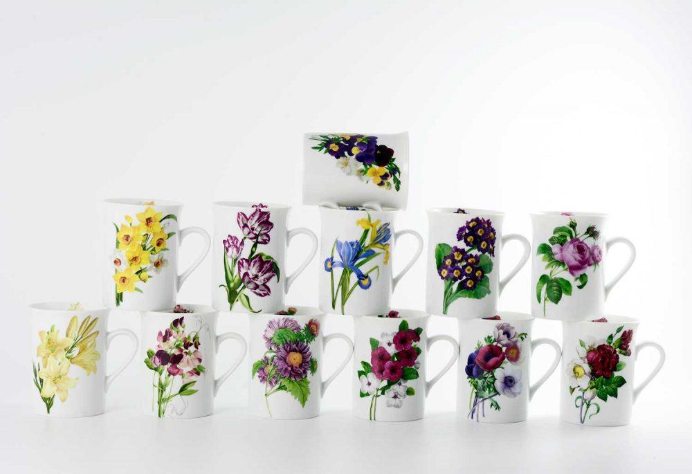 12 tazas mug flores