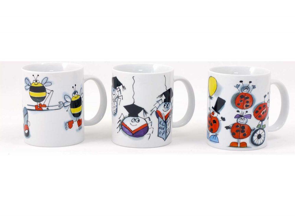 3 tazas desayuno animales divertidos