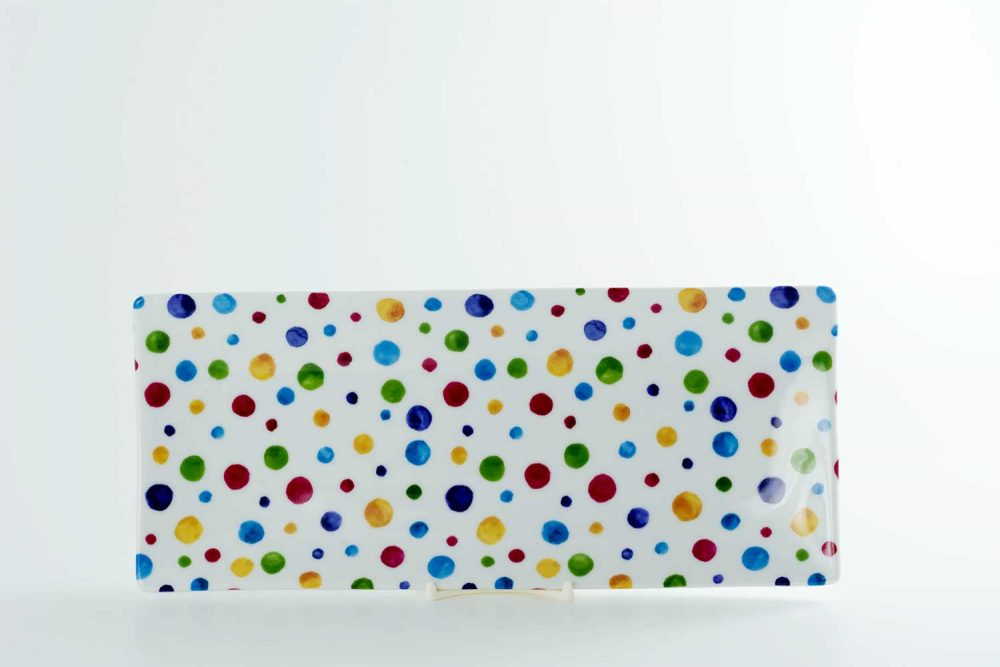 bandeja porcelana 30x13 dots