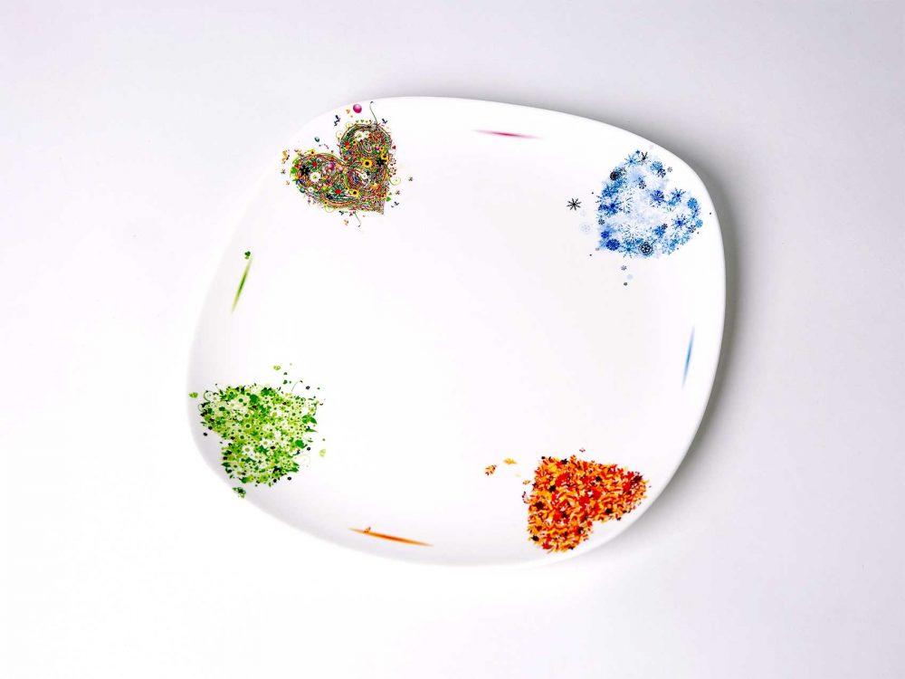 plato presentacion porcelana corazones del año