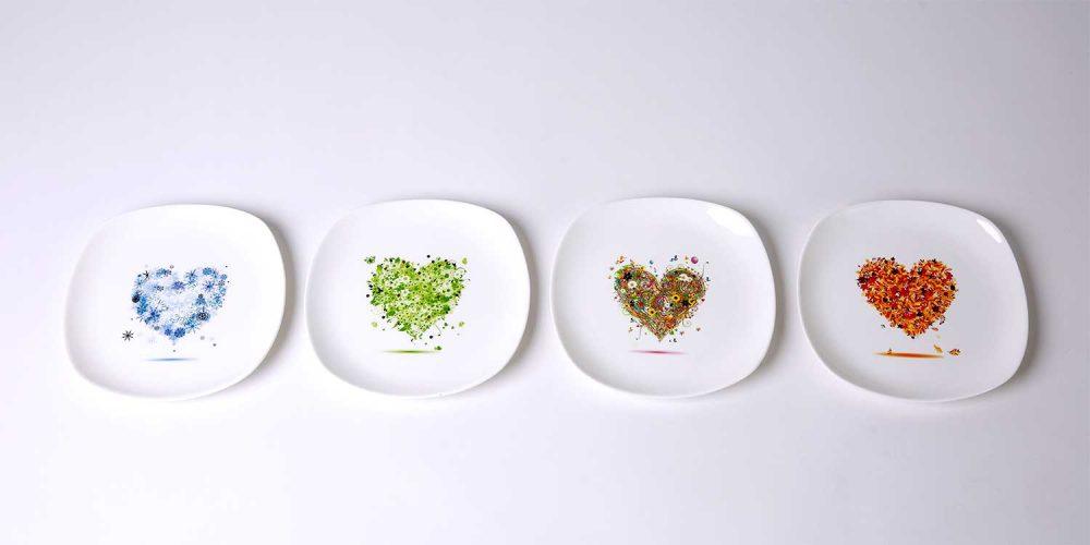 platos merienda porcelana corazones del año