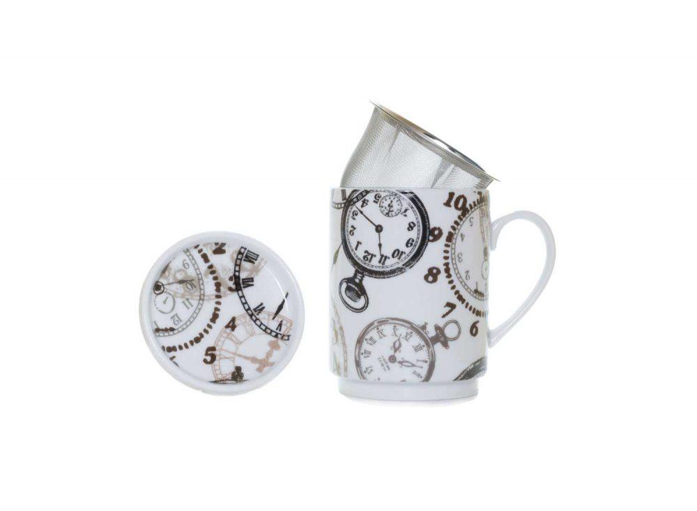 taza te porcelana relojes