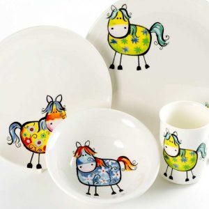 vajilla infantil porcelana caballos