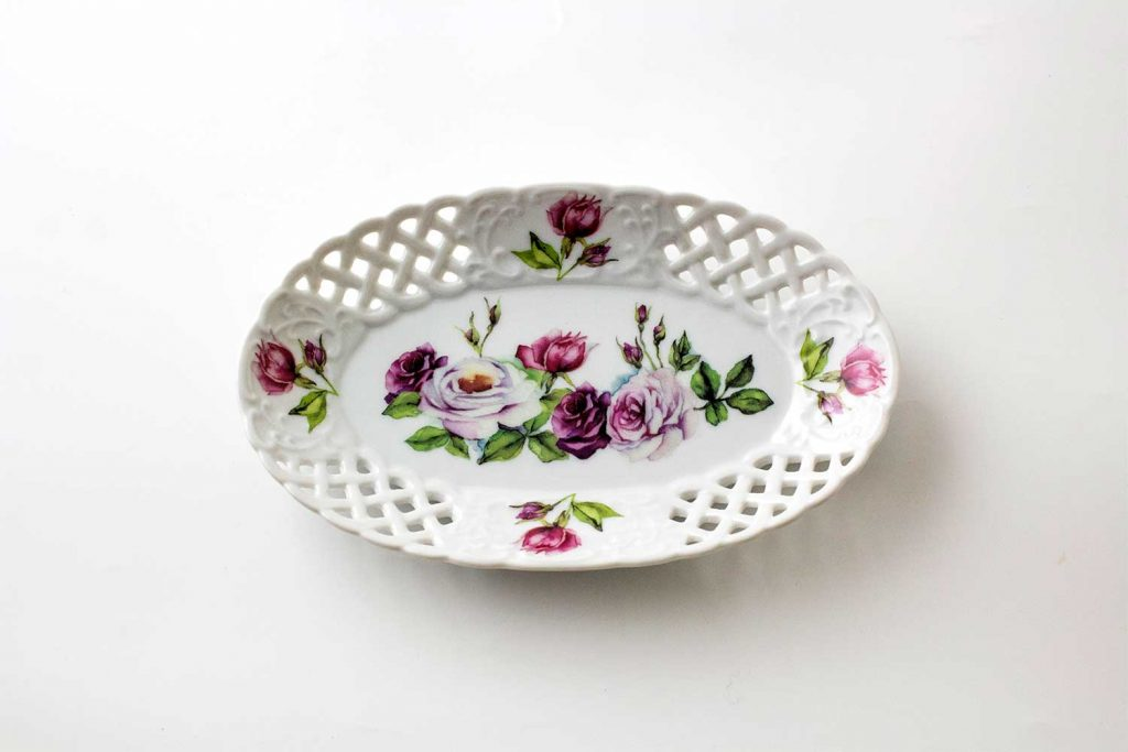 bandeja oval porcelana rose garden