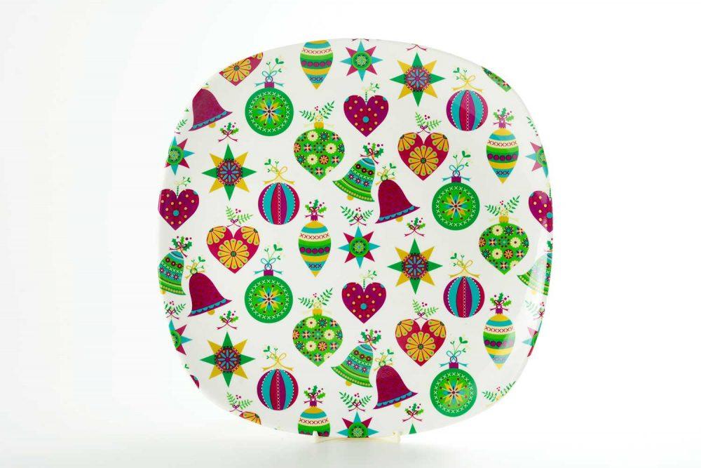 bandeja presentacion porcelana bolas navidad