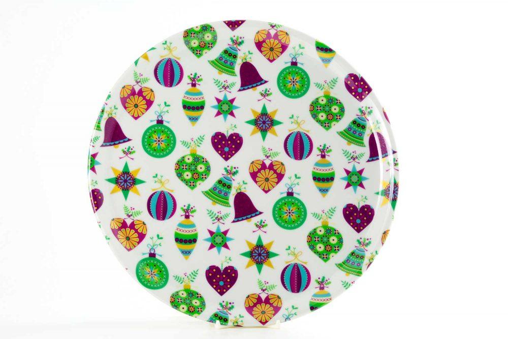 bandeja redonda porcelana bolas navidad