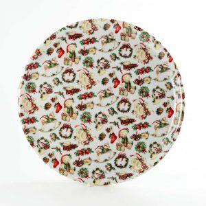 bandeja redonda porcelana navidad instrumentos