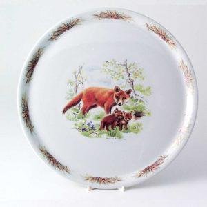 bandeja redonda porcelana zorros