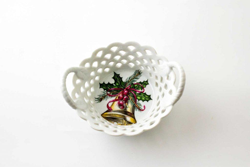 cesto porcelana instrumento navidad