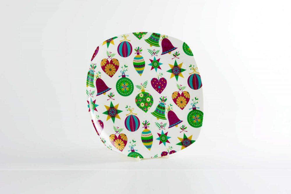 plato llano porcelana bolas navidad