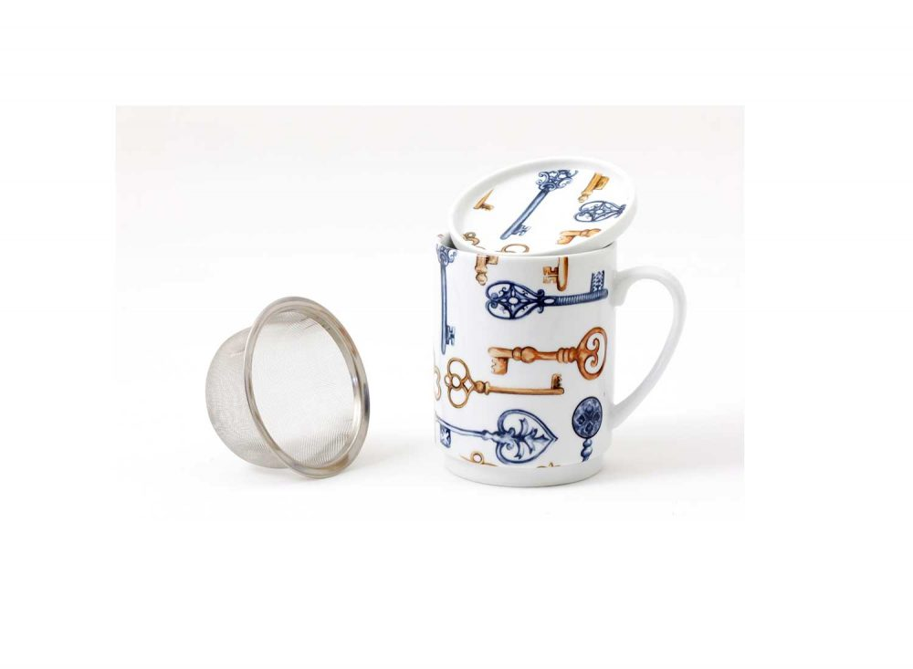 taza te porcelana llaves