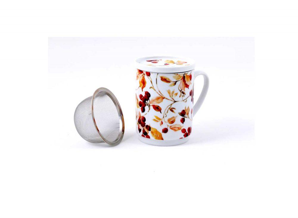 taza te porcelana granate