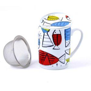 taza te porcelana peces colores